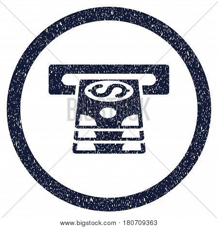 Bank Cashpoint grainy textured icon inside circle for overlay watermark stamps. Flat symbol with dirty texture. Circled vector indigo blue rubber seal stamp with grunge design.