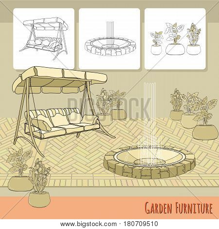 Vector illustration of hand drawn swing, paving, fountain and flowers in pot. Garden accessory on beige  background. Landscape design. Summer backyard with outdoor furniture. Rest area.