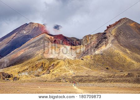 Volcanic Landscape And Volcano Crater, Tongariro National Park