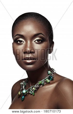 Beauty Portrait Of Handsome Ethnic African Girl, Isolated On White Background