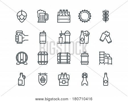 Beer. Set of outline vector icons. Includes such as Bottle, Barrel, Cup, Can and other. Editable Stroke. 48x48 Pixel Perfect