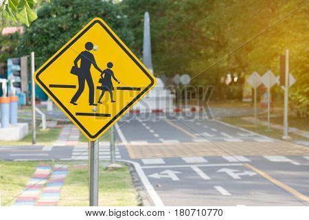 Students crossing ahead sign, traffic , zone