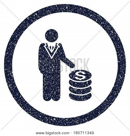 Businessman grainy textured icon inside circle for overlay watermark stamps. Flat symbol with unclean texture. Circled vector indigo blue rubber seal stamp with grunge design.