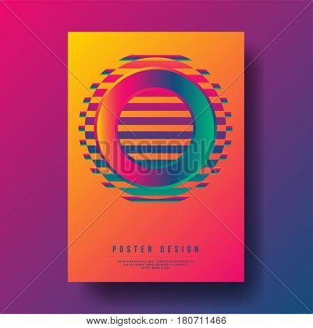 Abstract Colorful Gradient Circle with Geometric Shapes Cover Design - Vector illustration template