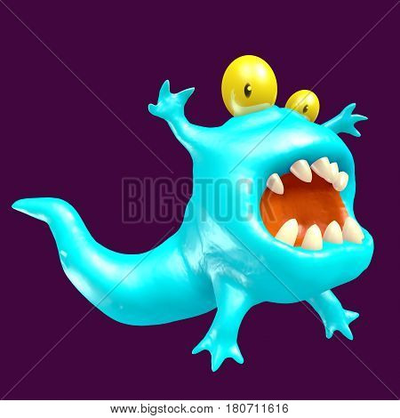 Cute blue tadpole monster. Funny emoticon character. 3D illustration.