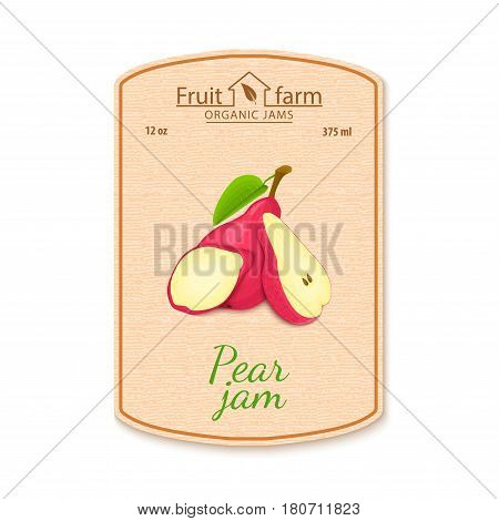 Vector pear jam lable. Composition of red pear fruits. Design of a sticker for a jar with pears jam, fruit marmalade, juice, smoothies. Sticker in retro style with texture for your design.