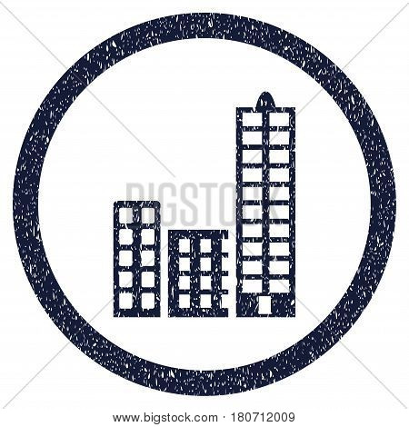 City grainy textured icon inside circle for overlay watermark stamps. Flat symbol with dirty texture. Circled vector indigo blue rubber seal stamp with grunge design.