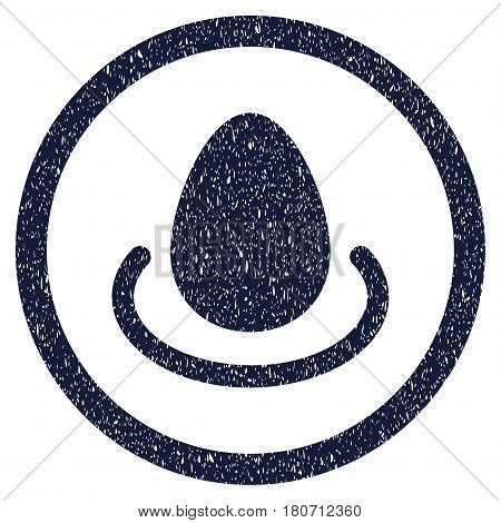 Deposit Egg grainy textured icon inside circle for overlay watermark stamps. Flat symbol with dirty texture. Circled vector indigo blue rubber seal stamp with grunge design.