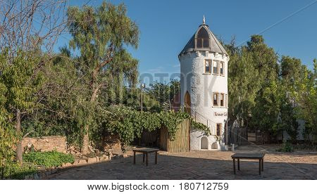 NIEU BETHESDA SOUTH AFRICA - MARCH 22 2017: A guest house in the form of a tower in Nieu-Bethesda an historic village in the Eastern Cape Province
