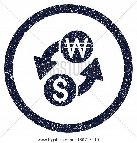 Dollar Korean Won Exchange grainy textured icon inside circle for overlay watermark stamps. Flat symbol with dirty texture. Circled vector indigo blue rubber seal stamp with grunge design.