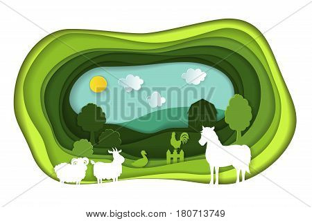 Paper art carving with green lanscape with farm animals. Agriculture concept. Cut style. Vector illustration.