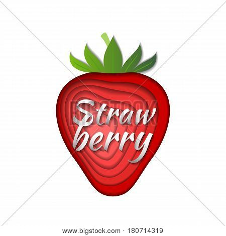 Paper art strawberry. Vector illustration. Paper cut style strawberry. Origami concept.