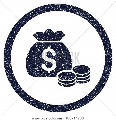 Money Bag grainy textured icon inside circle for overlay watermark stamps. Flat symbol with dirty texture. Circled vector indigo blue rubber seal stamp with grunge design.