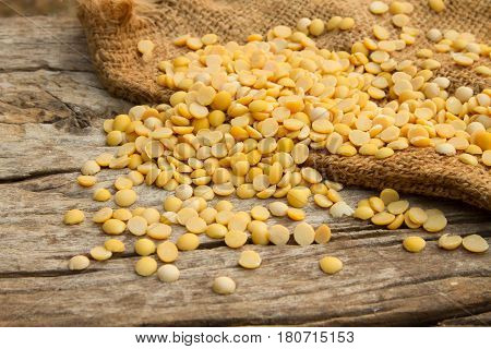 Soybean legume grains on wooden table at organic farm