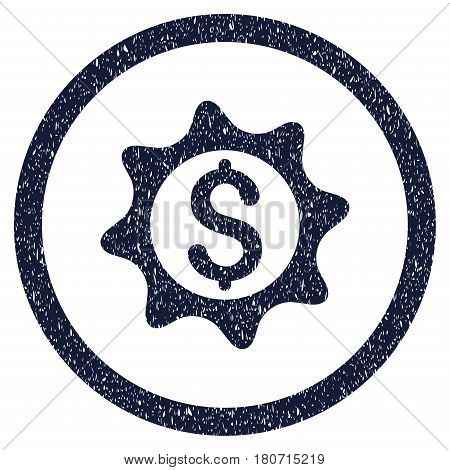 Money Seal grainy textured icon inside circle for overlay watermark stamps. Flat symbol with scratched texture. Circled vector indigo blue rubber seal stamp with grunge design.