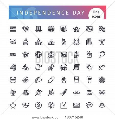 Set of 56 USA Independence Day line icons suitable for web, infographics and apps. 4th of july. Isolated on white background. Clipping paths included.