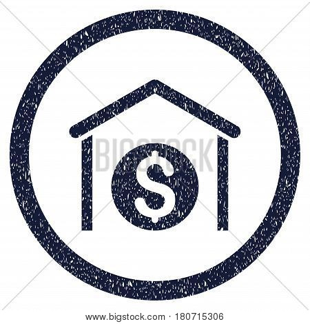 Money Storage grainy textured icon inside circle for overlay watermark stamps. Flat symbol with dirty texture. Circled vector indigo blue rubber seal stamp with grunge design.