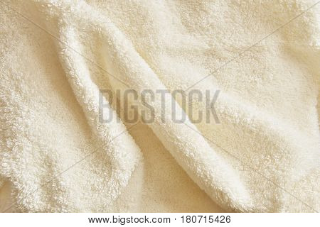 Creamy Cotton Towel Terry Cloth Texture with Soft Folds