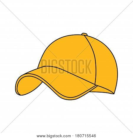 Yellow baseball cap icon. on white background. Vector illustration.