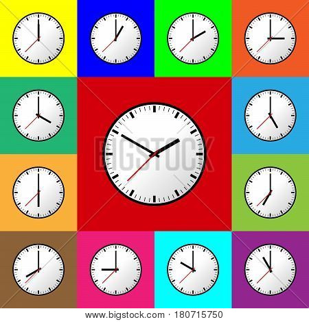 Set clock icon, Vector illustration, flat design. Easy to use and edit. EPS10. Multi color background.