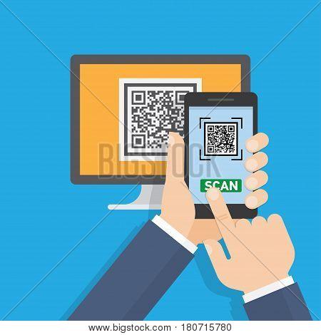 Mobile app for scanning QR-code. Vector illustration