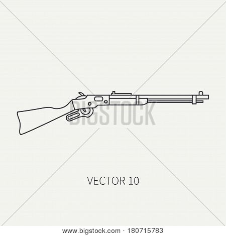 Line flat plain vector military icon rifle, carbine. Army equipment and armament. Legendary retro weapon. Cartoon style. Assault. Soldiers. Slug. War. Illustration and element for design and wallpaper
