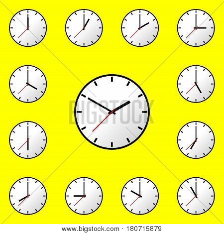 Set clock icon, Vector illustration, flat design. Easy to use and edit. EPS10. Yellow background.