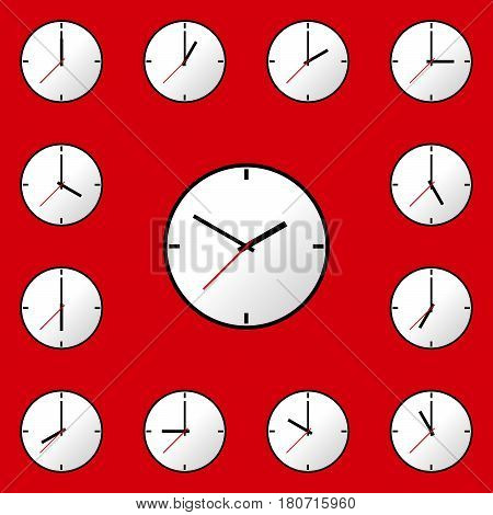 Set clock icon, Vector illustration, flat design. Easy to use and edit. EPS10. Red background.
