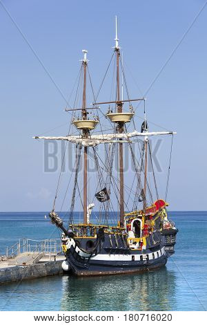 The vessel stylized as a pirate ship docked in George Town on Grand Cayman island (Cayman Islands).