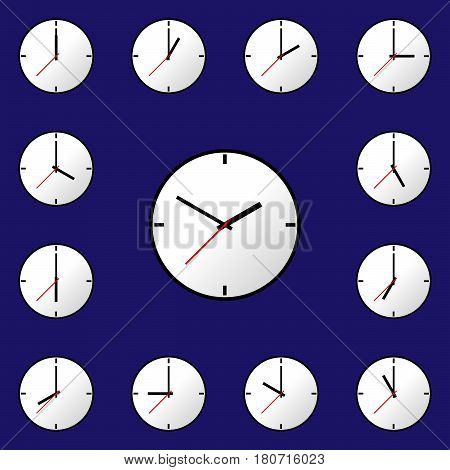 Set clock icon, Vector illustration, flat design. Easy to use and edit. EPS10. Blue background.