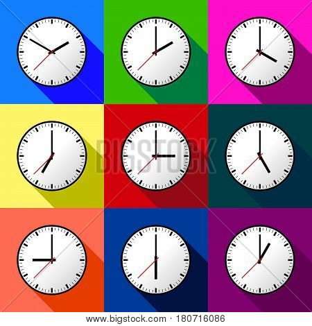 Set clock icon, Vector illustration, flat design. Easy to use and edit. EPS10. Multi color background with shadow.
