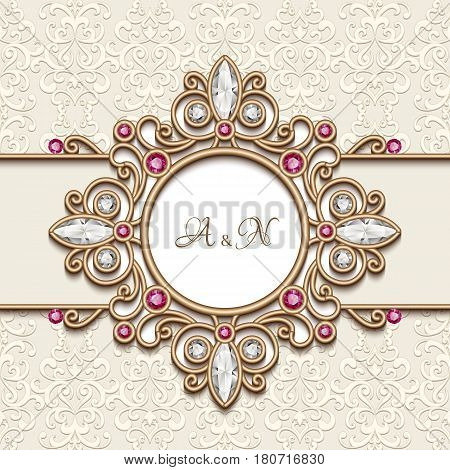 Vintage gold jewelry background, antique jewellery frame with diamonds and ruby gems, wedding invitation card or announcement design, elegant decoration in retro style