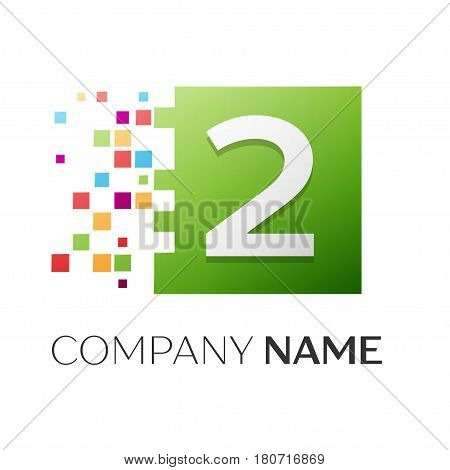 Number two vector logo symbol in the colorful square on white background. Vector template for your design