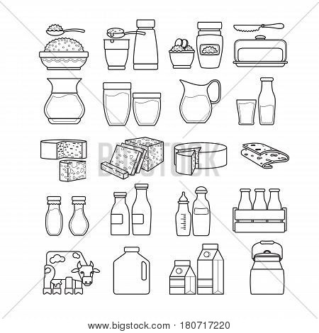 Vector set of  cute  dairy icon isolated on white background. For dairy shop.