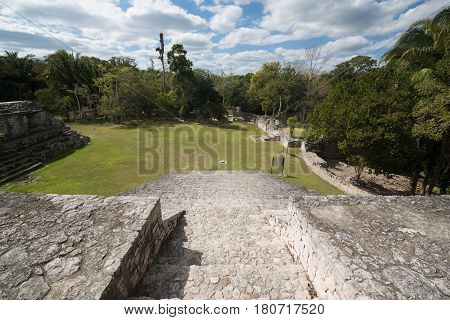 Kohunlich is a large archaeological site of Maya civilization, Yucatan Peninsula, Quintana Roo, Mexico.