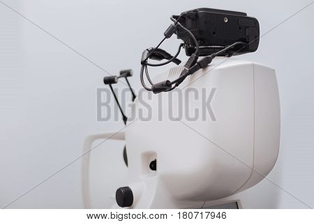 Sophisticated technology. Close up of the expensive sophisticated diagnostic equipment being designed for eye examination