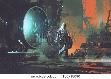the templar knight walking out through futuristic portal sci-fi concept ,illustration painting
