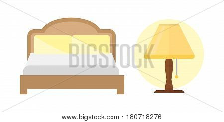 Sleep bed icons set dream healthy lifestyle. Bedroom rest collection sleep lamp icons. Sleep time icons flat set isolated vector illustration.