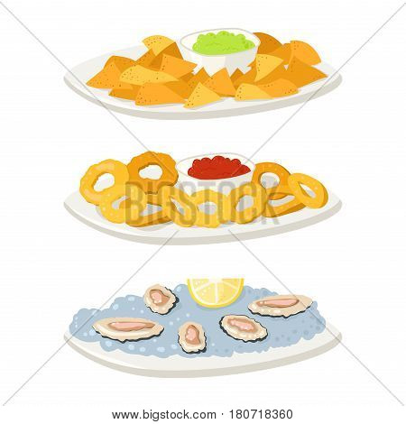 Various oysters meat canape snacks appetizer chips and cheese banquet snacks on platter illustration. Cuisine buffet delicious. Vector tasty starter restaurant catering tartlet ham sandwich.