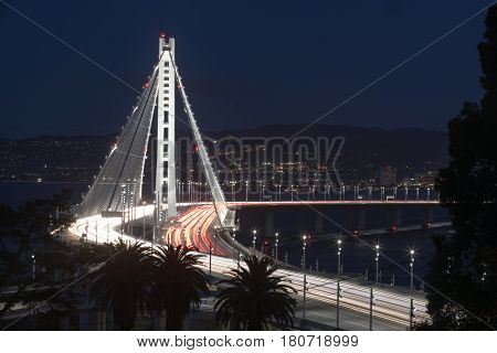 San Francisco-Oakland Bay Bridge Eastern Span at Night. Yerba Buena Island, San Francisco Bay, California, USA.