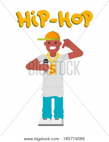 Hip hop character musician with microphone breakdance expressive rap portrait. Modern young man fashion person adult people dancer trendy lifestyle urban handsome black rapper guy.