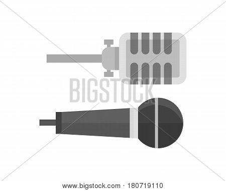 Microphone vector icon isolated interview music TV tool show voice radio broadcast audio live record studio sound media sign illustration. Professional pictogram communication music accessory.