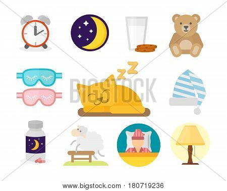 Sleep time set with window milk and cookies isolated vector illustration. Sleep icons moon set pillow clock dream healthy lifestyle. Bedroom collection sleep icons isolated on white background