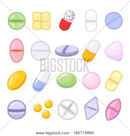 Set of different isolated, colorful pills.Medicine painkiller pills, pharmaceutical antibiotics drugs vector. Set of color pills, illustration of antibiotic and vitamin pill. Cartoon style vector illustration