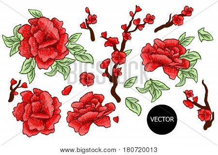 Embroidery. Embroidered design elements with sakura flowers and leaves isolated. Red Flowers.
