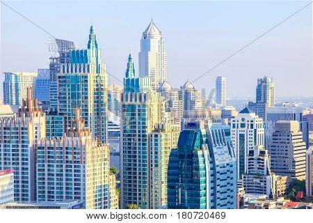 Bangkok Cityscape Business district with high building at sunshine day Bangkok Thailand