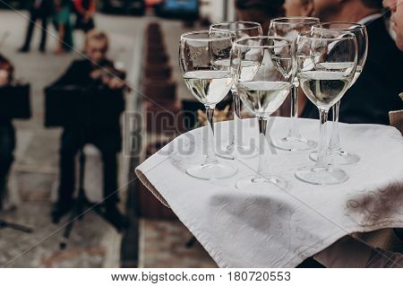 Luxury Life Concept. Glasses With Champagne And Wine On Tray At Luxury Wedding Reception Ta Restaura