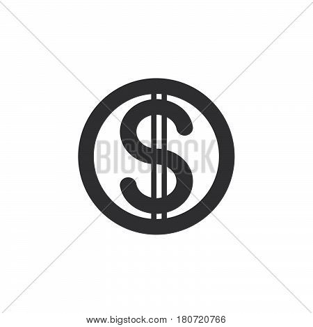 Dollar coin icon vector filled flat sign solid pictogram isolated on white. Symbol logo illustration. Pixel perfect