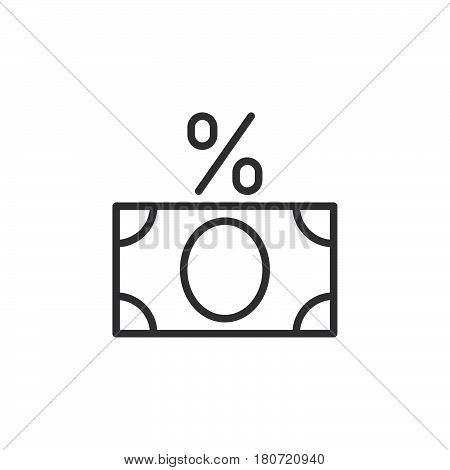 Money banknote with percent sign line icon outline vector sign linear style pictogram isolated on white. Fees symbol logo illustration. Editable stroke. Pixel perfect