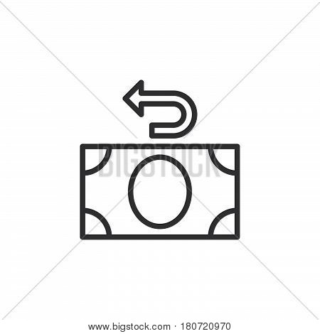 Money refund line icon outline vector sign linear style pictogram isolated on white. Cashback symbol logo illustration. Editable stroke. Pixel perfect